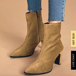 Lulu's  Caverley  Casper Tan  Cord Suede Boot
